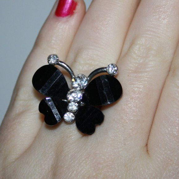 Pretty silver black and rhinestone butterfly ring
